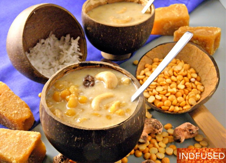 #easy #Indian #recipe for #vegan #dessert #kheer made with chana dal ,jaggery and coconut