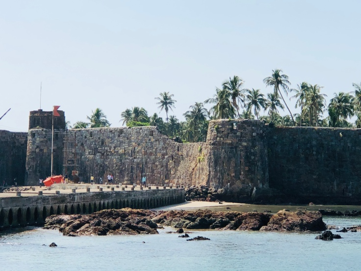 Sindhudurga fort in Malvan, India, built by the Maratha king, Shivaji in the 17th century . The ingenuity in designing this fort to protect against invaders is amazing!