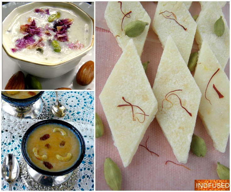 Quick, Easy and Exquisite Almond Kheer, Sweet Potato Kheer and Shrikhand Vadi in 7 minutes
