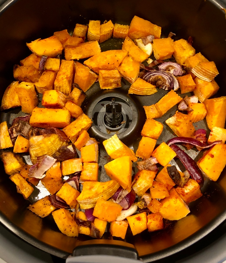 Roasted Butternut Squash and Apple Bisque made even easier with the help of an air fryer!A healthy, figure friendly bisque, so flavorful and velvety that you will not miss the cream! Serves 4 to 6